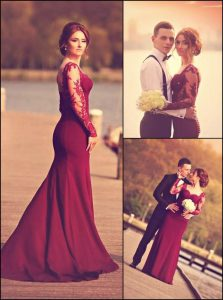 Burgundy Sweetheart Zipper Lace and Appliques Pageant Dress for Teens Court Train Long Sleeves