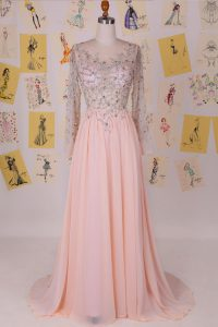Fine Pink Scoop Neckline Beading Winning Pageant Gowns Long Sleeves Zipper