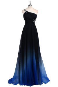 Wonderful One Shoulder Sleeveless Floor Length Beading Criss Cross Pageant Dress for Teens with Navy Blue