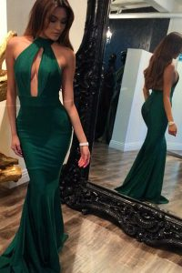 Cheap Mermaid Halter Top Sleeveless Elastic Woven Satin Winning Pageant Gowns Ruching Sweep Train Backless