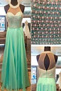 Shining Chiffon High-neck Sleeveless Zipper Beading Pageant Gowns in Apple Green