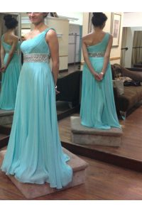 Baby Blue A-line Chiffon One Shoulder Sleeveless Beading and Sashes ribbons Floor Length Side Zipper Pageant Dress Womens