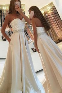 Deluxe Floor Length A-line Sleeveless White High School Pageant Dress Zipper