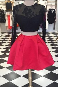 A-line Pageant Dresses Red And Black Scoop Satin and Lace Long Sleeves Knee Length Zipper