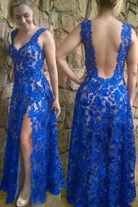 Great Floor Length Backless Pageant Dress for Teens Blue for Prom with Lace