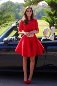 Lovely Halter Top Red Half Sleeves Lace Knee Length Pageant Dress Womens