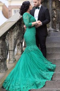 Mermaid V-neck Long Sleeves Tulle Pageant Gowns Beading and Appliques Chapel Train Lace Up