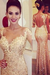 Glorious Mermaid Gold Sweetheart Neckline Lace and Appliques and Sequins Pageant Dress for Womens Long Sleeves Backless
