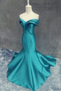 Mermaid Sleeveless Ruching Zipper Evening Gowns with Teal Brush Train