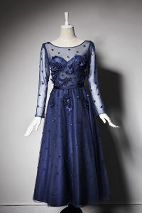 Excellent Scoop Beading and Hand Made Flower Pageant Dress Womens Navy Blue Zipper Long Sleeves Tea Length
