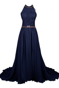 Free and Easy Halter Top Sleeveless Chiffon and Lace Pageant Gowns Beading Zipper