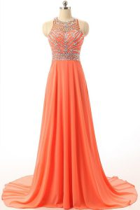 Superior Orange Backless Halter Top Beading Pageant Dress Wholesale Chiffon Sleeveless Court Train
