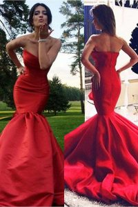 Fashionable Mermaid Red Elastic Woven Satin Zipper Pageant Dress for Girls Sleeveless Sweep Train Pleated