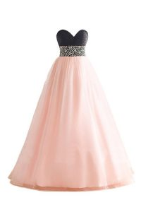 Custom Design Floor Length Lace Up Pageant Dress Pink And Black for Prom and Party with Beading