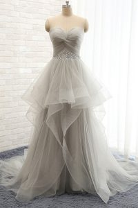 Sleeveless Beading Lace Up Pageant Dress for Womens with Grey Court Train