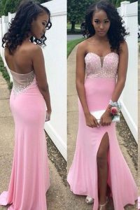 Mermaid Rose Pink Backless Sweetheart Beading Pageant Dress Chiffon Sleeveless