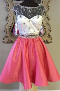 Artistic Sashes ribbons Pageant Dress Wholesale Rose Pink Zipper Cap Sleeves Mini Length