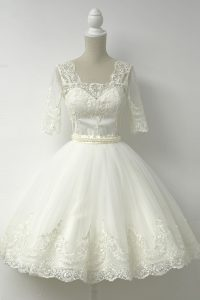 White Half Sleeves Tulle Zipper Pageant Dress for Girls for Prom and Party