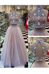 Floor Length Zipper Winning Pageant Gowns Pink for Prom and Party with Beading