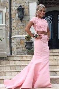 Mermaid Rose Pink Pageant Dresses Scoop Sleeveless Sweep Train Backless