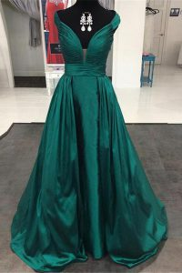Lovely Off the Shoulder Teal Zipper Custom Made Pageant Dress Pleated Sleeveless Sweep Train