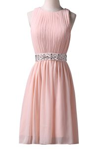 Scoop Sleeveless Chiffon Knee Length Lace Up Custom Made Pageant Dress in Pink with Beading