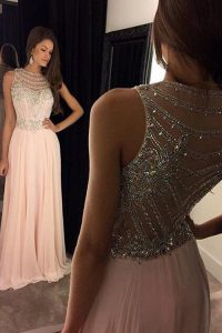 Custom Design Scoop Pink Empire Beading Evening Gowns Criss Cross Chiffon Sleeveless
