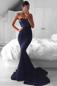 Exquisite Navy Blue Mermaid Sequins Custom Made Pageant Dress Zipper Elastic Woven Satin Sleeveless With Train