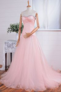 Exceptional Pink A-line Sweetheart Sleeveless Organza With Train Sweep Train Zipper Beading and Ruching High School Pageant Dress
