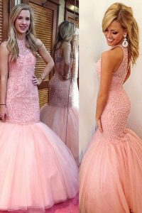 Simple Mermaid Scoop Pink Sleeveless Floor Length Lace Backless Custom Made Pageant Dress