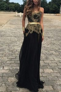 Sleeveless Chiffon Floor Length Backless Pageant Dress for Womens in Black with Lace and Appliques