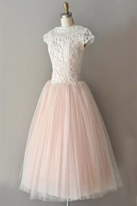Pink Bateau Neckline Lace Pageant Dress Wholesale Cap Sleeves Zipper