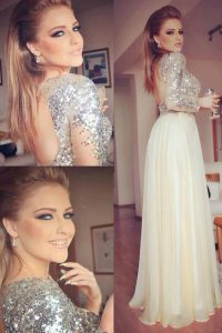 Champagne Pageant Dress for Teens Prom and Party with Sequins Scoop Long Sleeves Backless