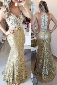Best Selling Mermaid Spaghetti Straps Sleeveless Brush Train Zipper Pageant Dress for Teens Gold Lace