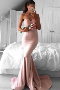 Superior Pink Mermaid Sweetheart Sleeveless Elastic Woven Satin Sweep Train Zipper Lace Winning Pageant Gowns