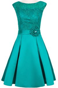 Comfortable Teal A-line Taffeta and Lace Scoop Cap Sleeves Hand Made Flower Knee Length Zipper High School Pageant Dress