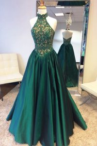 Halter Top Teal Zipper Pageant Dress for Teens Beading and Lace Sleeveless Sweep Train