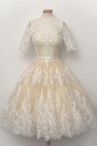 Custom Design Scalloped Half Sleeves Knee Length Lace and Belt Zipper Pageant Dresses with Champagne