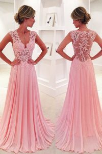 Deluxe Pink V-neck Side Zipper Lace Winning Pageant Gowns Sweep Train Sleeveless