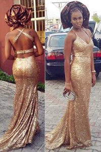 Gold Column/Sheath Halter Top Sleeveless Sequined With Brush Train Criss Cross Sequins Evening Gowns