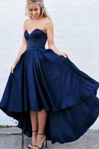 Enchanting High Low Zipper Pageant Dress for Teens Navy Blue for Prom with Pleated