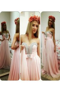 Chic Floor Length Zipper Glitz Pageant Dress Pink for Prom and Party with Beading