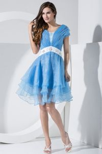 Blue Knee-Length Straps Ruched Layered Girl Pageant Dress with Appliqued Belt