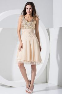 V-Neck Straps Sequin Champagne Knee-Length Beauty Pageant Dress in London
