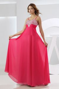 Spaghetti Straps Empire Hot Pink Floor-Length Beaded Pageant Dresses for Girls