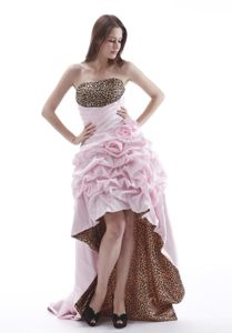 High-Low Strapless Leopard and Pink Pageant Dresses with Flowers and Pick-ups