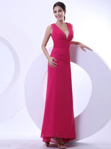 Sexy Hot Pink V-neck Ankle-length Dresses For Pageants In Nj in Wichita