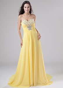 Sweetheart Chiffon Beaded Pageant Dresses with Brush Train in Yellow