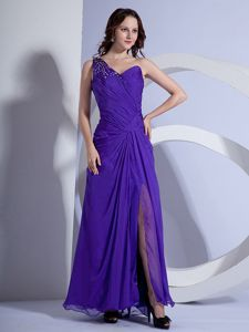 One Shoulder Ruched Miss Universe Pageant Dress with Beading in Purple