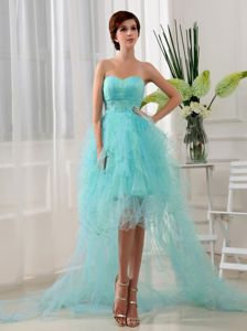 Beaded Sweetheart Organza High-low Beauty Pageant Dresses in Blue